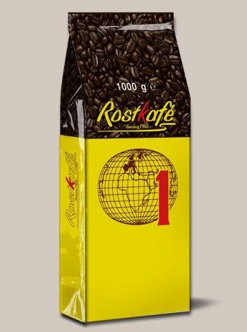 Caffè Rostkafè (Mappamondo giallo)  -  DESCRIZIONE: Miscela dal gusto morbido, corposa e aromatica. IN GRANI