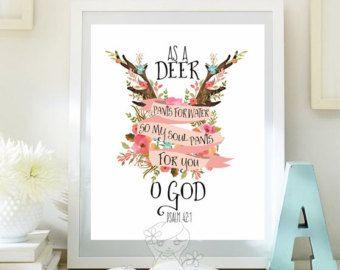 Wall art Bible Verse Art Deer Printable by LittleEmmasFlowers
