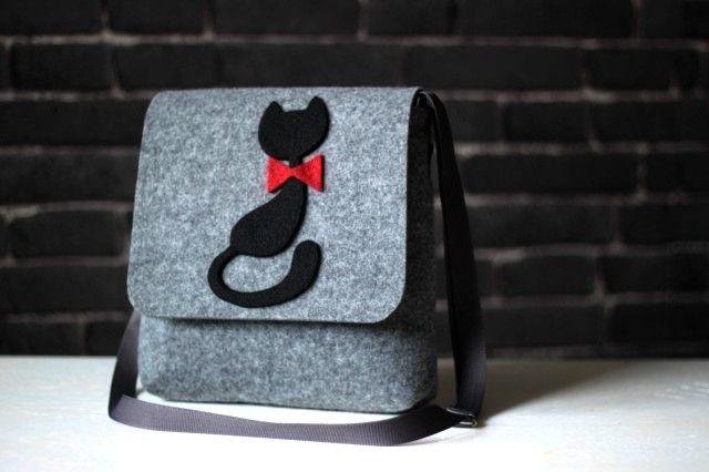 Kabelka Basic - Mačička s mašľou 24x25x7,5cm