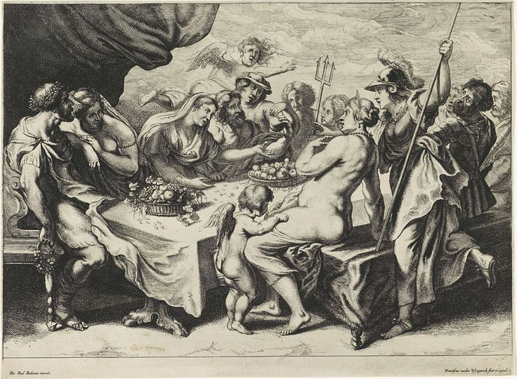 Frans van den Wijngaerde | Huwelijk van Peleus en Thetis, Frans van den Wijngaerde, 1636 - 1679 | Peleus en Thetis zitten aan tafel met de goden van de Olympus tijdens hun bruiloftsmaal. Twee manden met fruit staan op tafel. Mercurius heeft zojuist de appel voor de mooiste godin gebracht.
