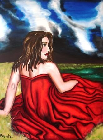 Buy Lady in Red painting 100 x 76 cm for R850.00