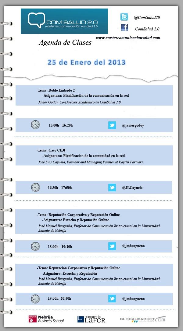 Agenda 25 de Enero del 2013 - Máster en Comunicación en Salud 2.0 (COMSALUD 2.0)