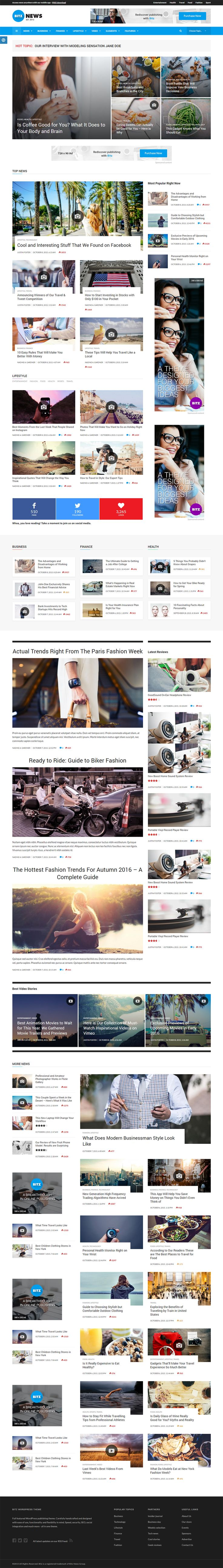 Bitz - News & Publishing Theme Bitz Publishing WordPress theme is best way to build online news or magazines websites. You can use this Bitz theme to increase your site's performance as well as readers.