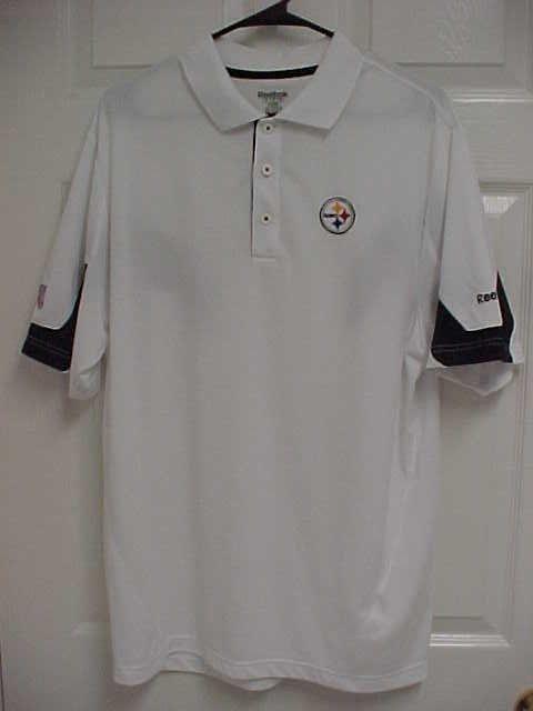 Pittsburgh Steelers Logo Nfl Men White Short Sleeve Polo Shirt M