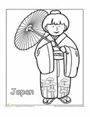 A coloring sheet for 1st graders about people from around the world. This one is of a Japanese girl in traditional clothes.
