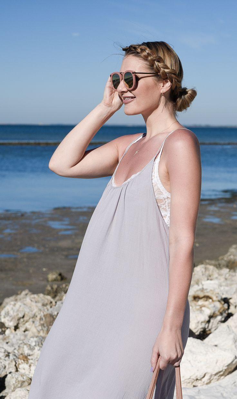 White lace bra and a grey beach dress!