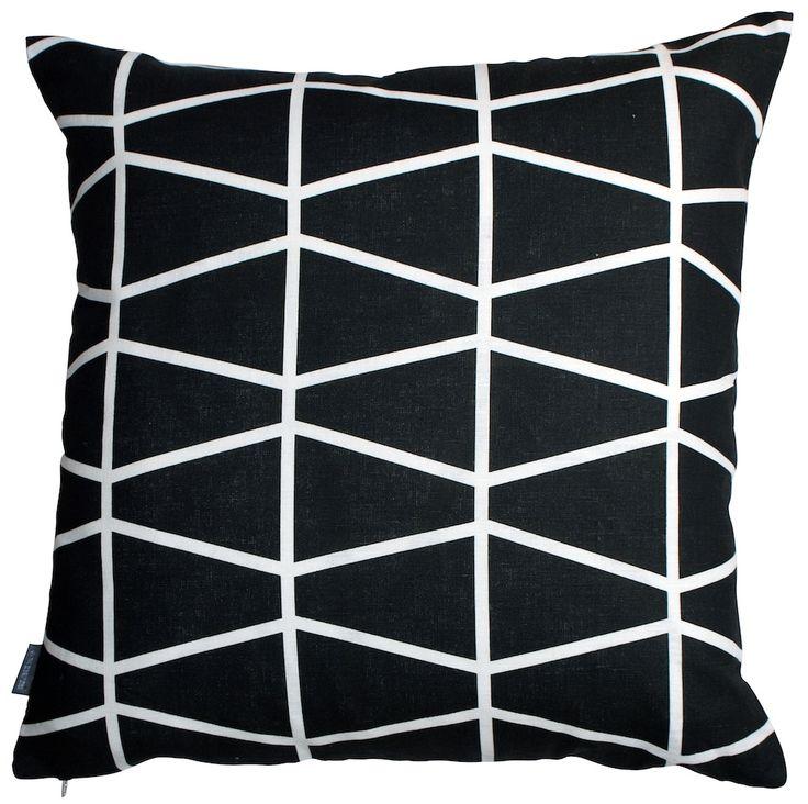 Fasett-tyynynpäällinen, musta, Spira