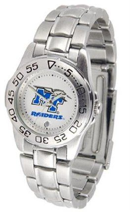 Middle Tennessee State MTSU Ladies Stainless Steel Wristwatch by SunTime. $56.95. Officially Licensed Middle Tennessee State Blue Raiders Ladies Wristwatch. Stainless Steel-Scratch Resistant Crystal. Women. Links Make Watch Adjustable. Calendar Function With Rotating Bezel. Middle Tennessee State ladies stainless steel wristwatch. Women's Blue Raiders watch comes with a stainless steel link bracelet. A date calendar function plus a rotating bezel/timer circles...