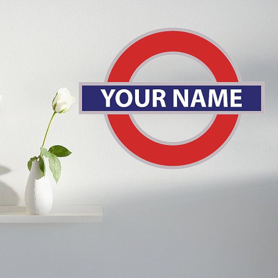 "CUSTOMIZABLE Name Decal - London Underground Metro Symbol Vinyl Decal 24"" wide x 18.5"" tall"