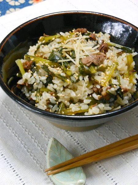 具沢山でおかずいらず、旨みたっぷり!小松菜と牛肉の炊き込みご飯。|野菜ソムリエakkiの シンプル・ベジフル・キッチン