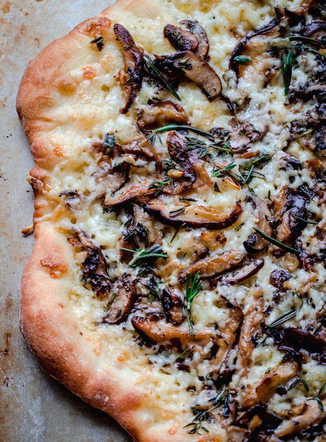 aged havarti + mushroom pizza with herbs + truffle oil.