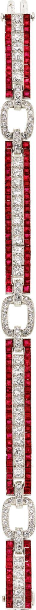 Art Deco Ruby, Diamond, Platinum Bracelet, Oscar Heyman Bros.