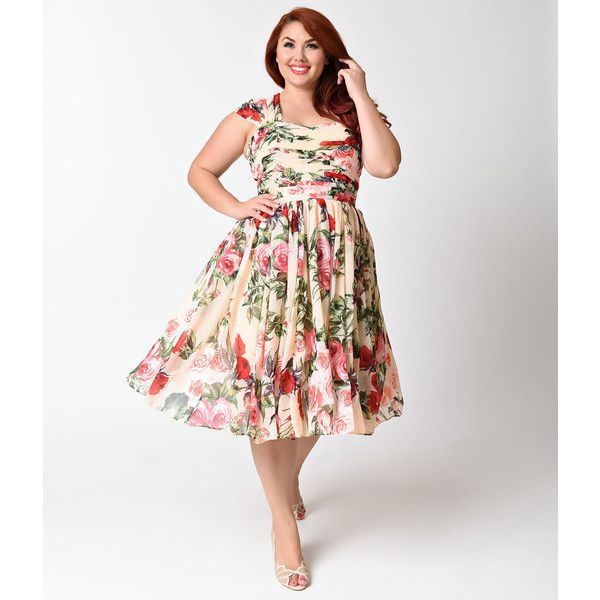 Unique Vintage Plus Size Peach & Floral Chiffon Garden State Dress ($118) ❤ liked on Polyvore featuring plus size women's fashion, plus size clothing, plus size dresses, vintage cocktail dresses, plus size vintage dresses, plus size white dress and floral print dress