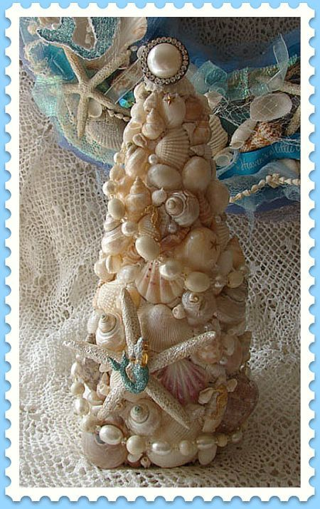 seashell christmas tree beach christmas treesthemed - Beach Themed Christmas Trees