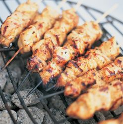 Grilled Bird on a Wire with Cucumber Dill Sauce