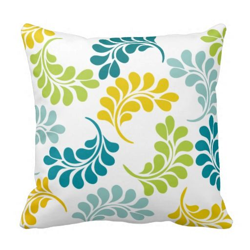 Teal Green Yellow Floral Pillow