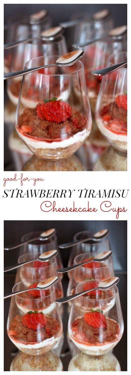 Good-for-You Strawberry Tiramisu Cheesecake Cups