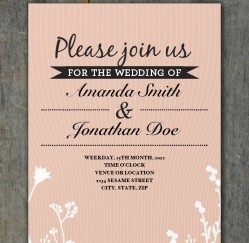 Free Peach flowers Wedding Invitation Template Download...!