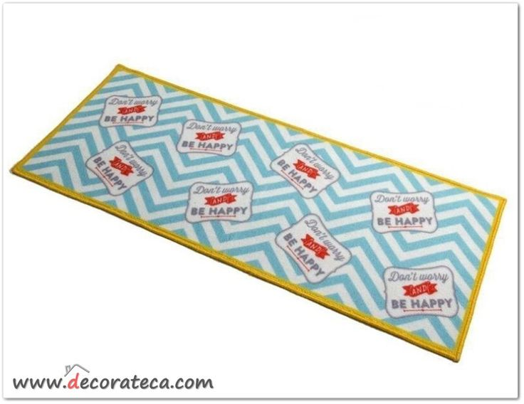 "Divertida y original alfombra de cocina / baño en amarillo y azul 1.20x50 ""Be happy"" - WWW.DECORATECA.COM"