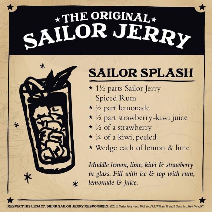 Sailor Splash. Sailor Jerry Spiced Rum, lemonade, strawberry-kiwi juice, fresh strawberry, fresh kiwi, lemon, lime. Page no longer exists