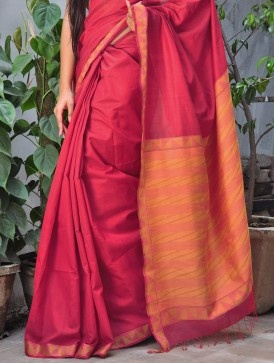 Red Saree with Triangles