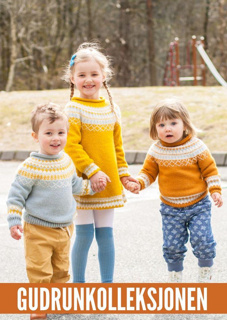 Det populære strikkemønsteret Gudrun fra Knitting Inna kommer i flere forskjellige barnestørrelser, både til gutt og til jente.