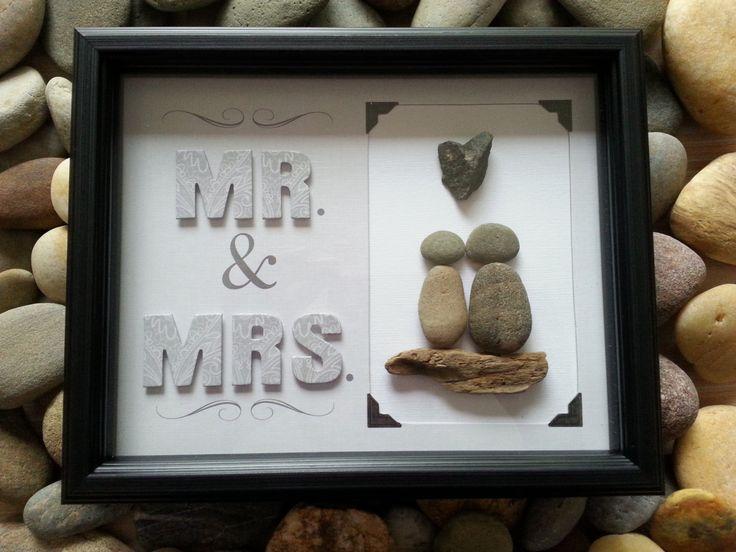 Mr & Mrs, Hand made pebble art, stone art, driftwood art, engagement, wedding gift by madebynatureandme on Etsy
