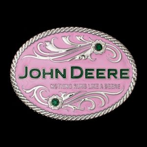Nothing Runs Like a Deere Pink John Deere Belt Buckle | WeGotGreen.com