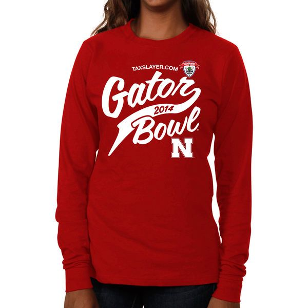 Nebraska Cornhuskers 2014 Gator Bowl Bound Women's Vintage Long Sleeve T-Shirt - Scarlet - $11.99