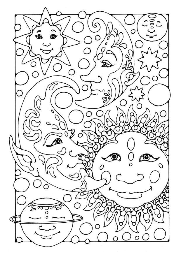 Sun Moon Coloring Pages Adult Sketch Page