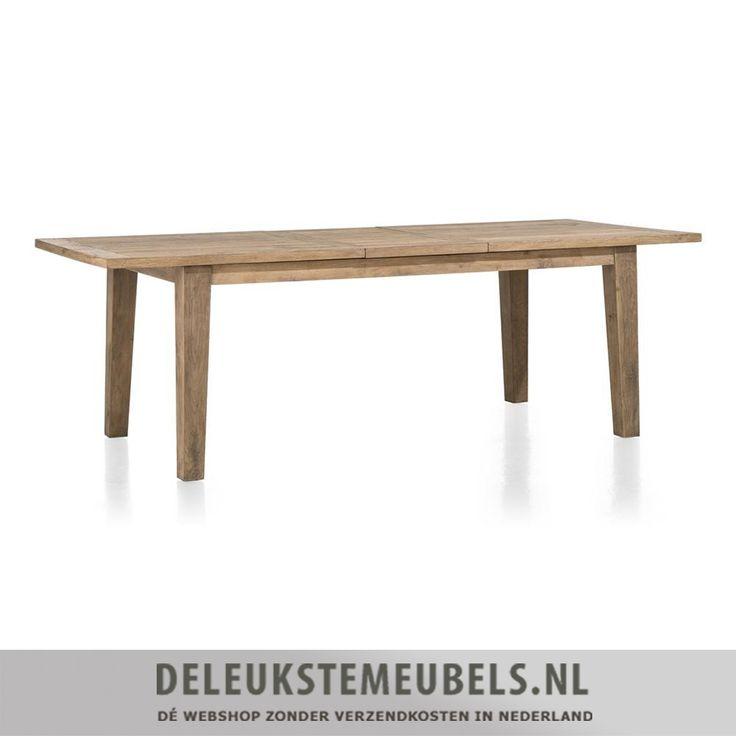 Deze stoere uitschuifbare eettafel van het merk Happy@Home uit de Borneo collectie is een verrijking voor je interieur. Hij is gemaakt van eiken hout met een fijne structuur. Door zijn strakke vormgeving en de rechte belijning past deze tafel in bijna ieder interieur. De afmeting van de tafel is 100x160/210cm  Tafels van het merk Happy@Home online kopen doe je zonder verzendkosten en snel bij deleukstemeubels.nl!
