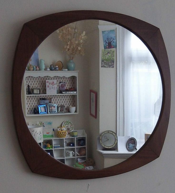 Vintage 60s / 70s teak symmetrical wall mirror  retro danish g plan era