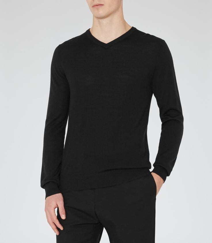 Reiss Black Merino V-neck Jumper