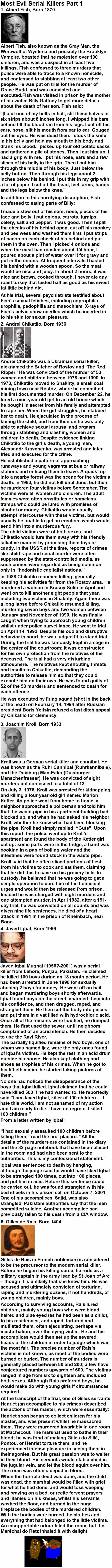 Most Evil Serial Killers Part 1