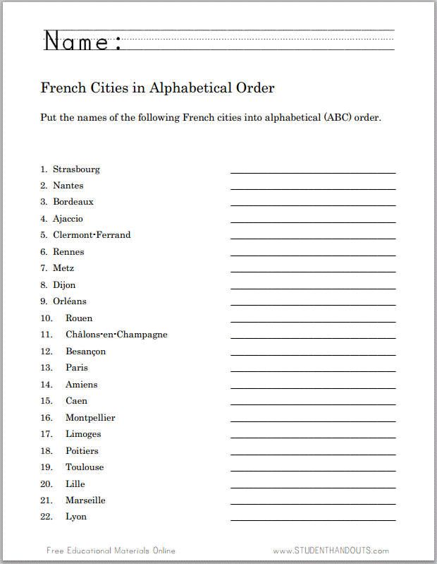 Cities Of France In Alphabetical Order Free Printable