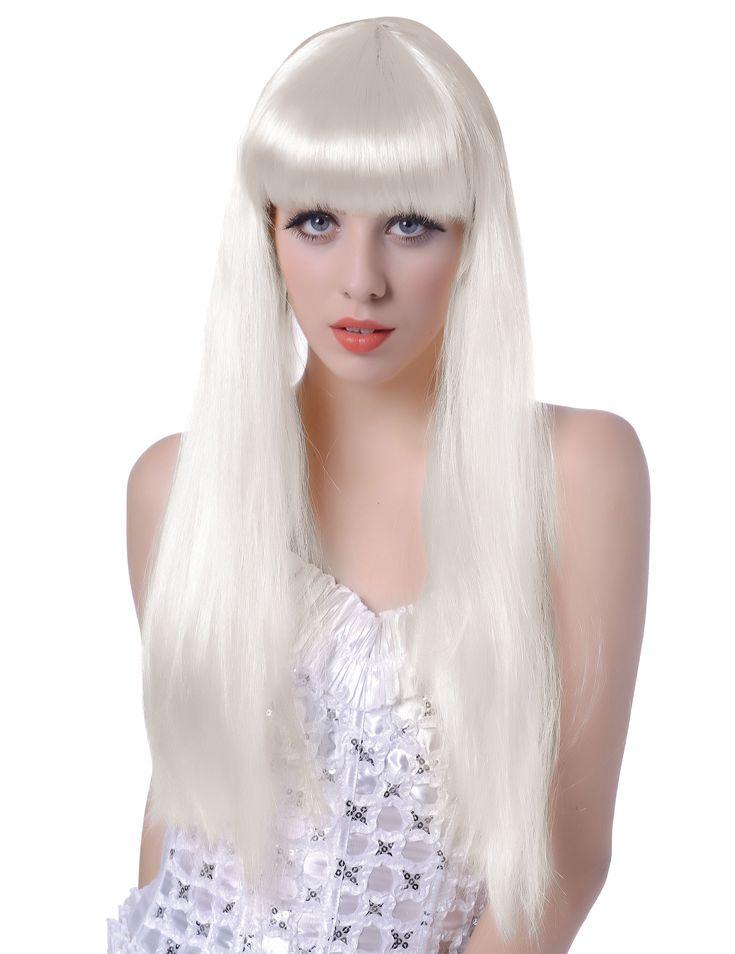 Perruque blanche longue à frange femme : Cette perruque longue pour femme est composée de longs cheveux blancs.Très lisses, ils mesurent environ 62 cm et une longue frange viendra couvrir votre front.Cette perruque...