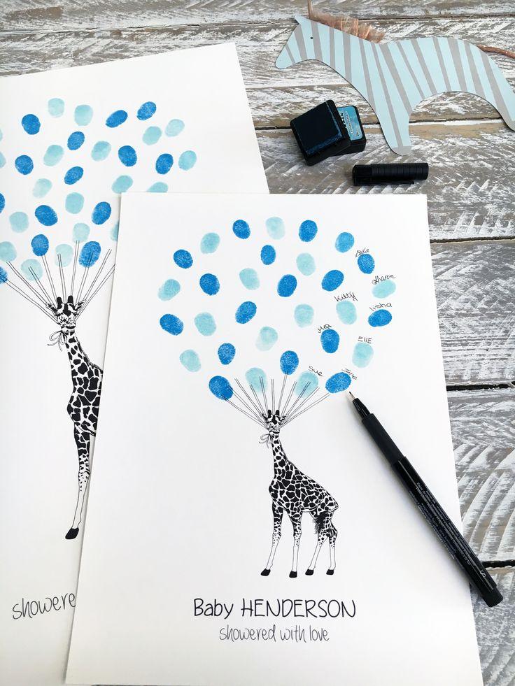 Fingerprint Guest book, Thumbprint Guest Book Giraffe. Great for baby showers, birthdays & naming ceremonies.