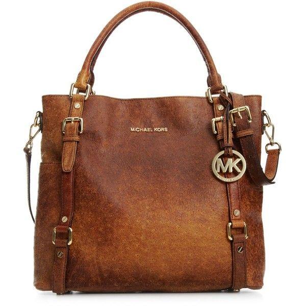 Michael Michael Kors Handbag, Bedford Ostrich Tote ($428) ❤ liked on Polyvore featuring bags, handbags, tote bags, purses, accessories, bolsas, women, tote purses, brown tote handbags and brown tote purse