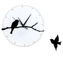 3D acrilico Orologi da parete Uccelli ramo di albero parete Orologi bambini del fumetto DIY quarzo Camera Wall Sticker Home Decor
