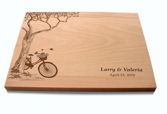 Custom Cutting Board with Tree and Bike Lovers Couple's Anniversary Gift Wedding Present Bridal Shower Gift on Etsy, $45.00