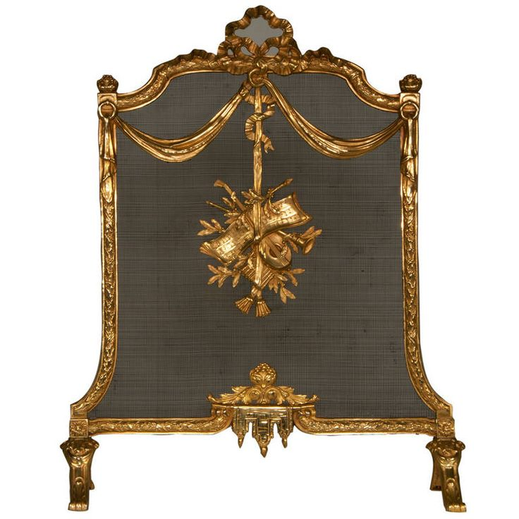 Louis XVI style fire screen in gilded bronze, 19th c. | From a unique collection of antique and modern fireplace tools and chimney pots at https://www.1stdibs.com/furniture/building-garden/fireplace-tools-chimney-pots/