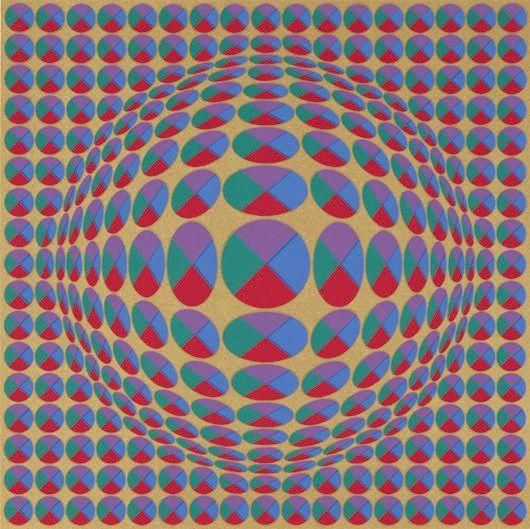 Victor Vasarely - Eight works: [Untitled]: Eight Impressions; Creation Date: 1970; Medium: screenprints in colors, on Arches paper; Dimensions: 40.64 X...