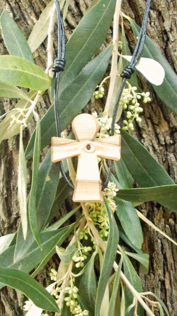 Olive wood Celtic cross pendant hand made in by ellenisworkshop, $26.00