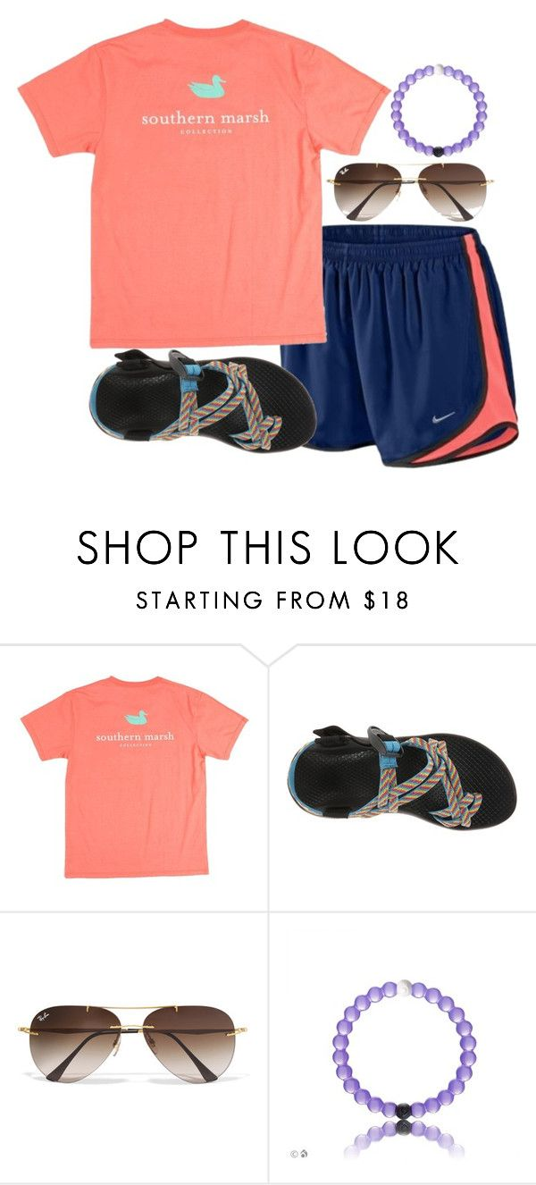 """I get to see le gma today"" by ava-navarrrroo ❤ liked on Polyvore featuring NIKE, Chaco and Ray-Ban"