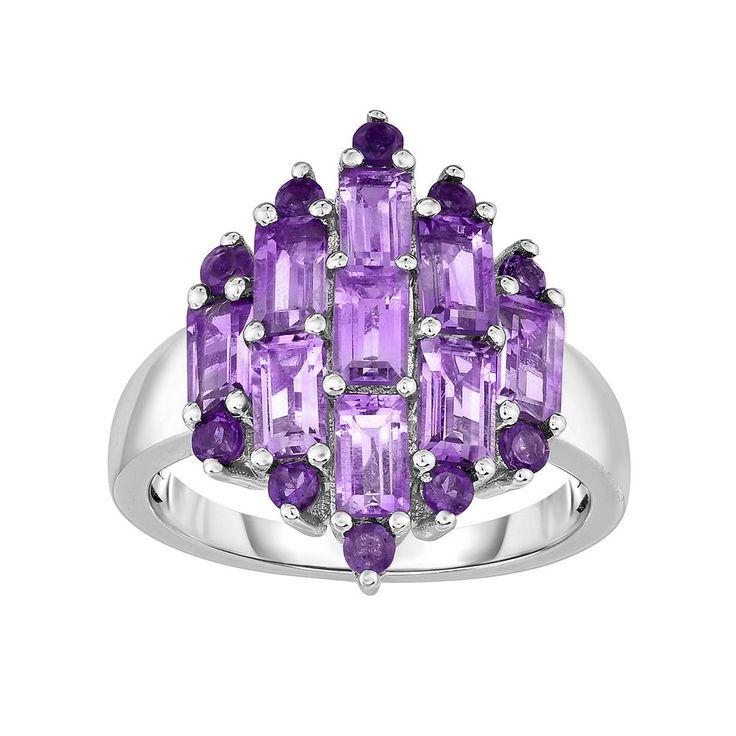 Sterling Silver Amethyst Cluster Ring, Women's, Size: 8, Purple