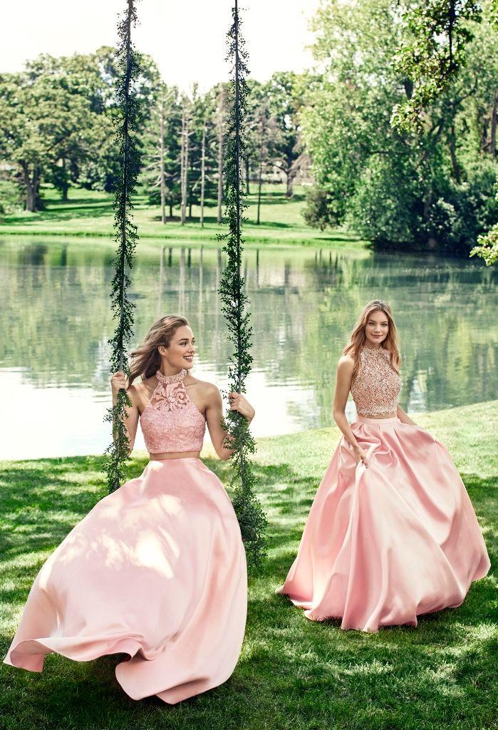 Prom 2017 | Alyce Paris pastel pink halter crop top dresses | Lace + Satin | {Styles: 6785 & 6738} | www.alyceparis.com