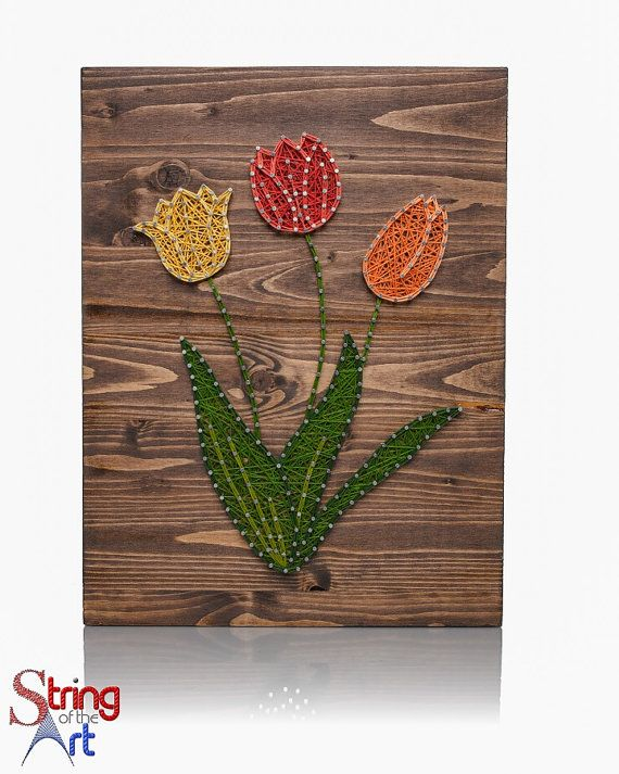 String Art DIY Kit - Home Decor - Yellow, Red, Orange Tulip - DIY Crafts Kit, DIY Decor - String, Nails, Stained Wood, Instructions, Pattern