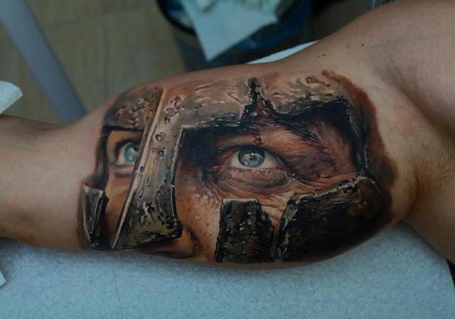 Realistic gladiator tattoo on arms tattoos pinterest for Best realistic tattoo artists
