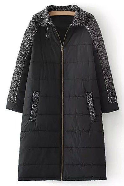 Wool Spliced Long Sleeve Zipper Padded Coat