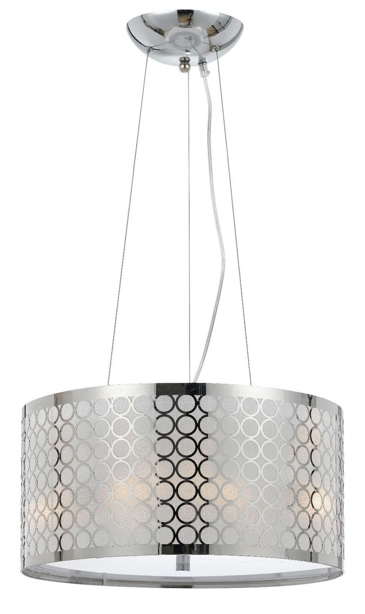 Chrome White Metallic Fabric Modern Drum Pendant Light Fixture Chandeli